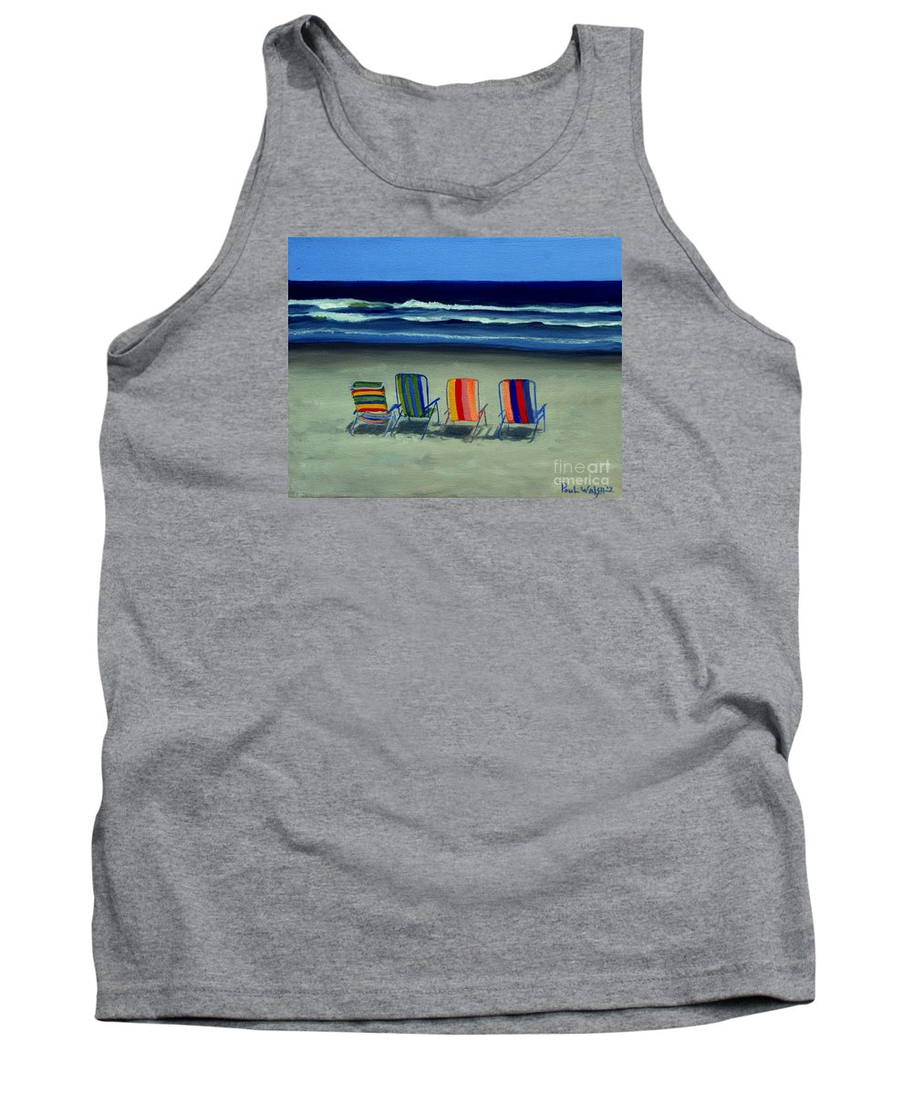 Beach Tank Top featuring the painting Beach Chairs by Paul Walsh
