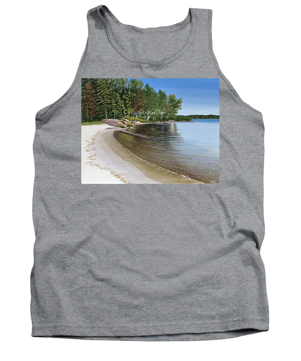 Landscapes Tank Top featuring the painting Beach In Muskoka by Kenneth M Kirsch