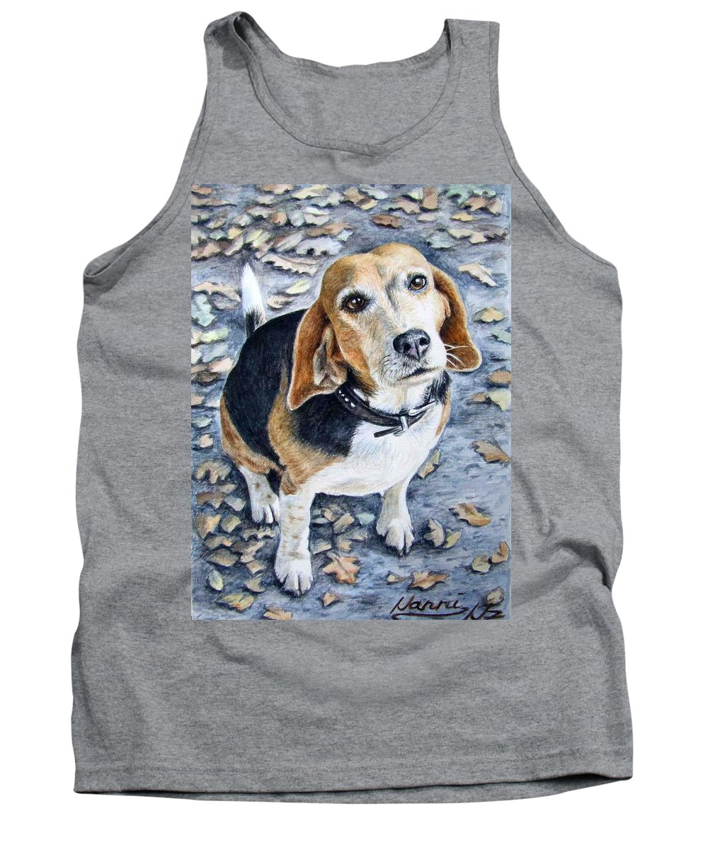 Dog Tank Top featuring the painting Beagle Nanni by Nicole Zeug