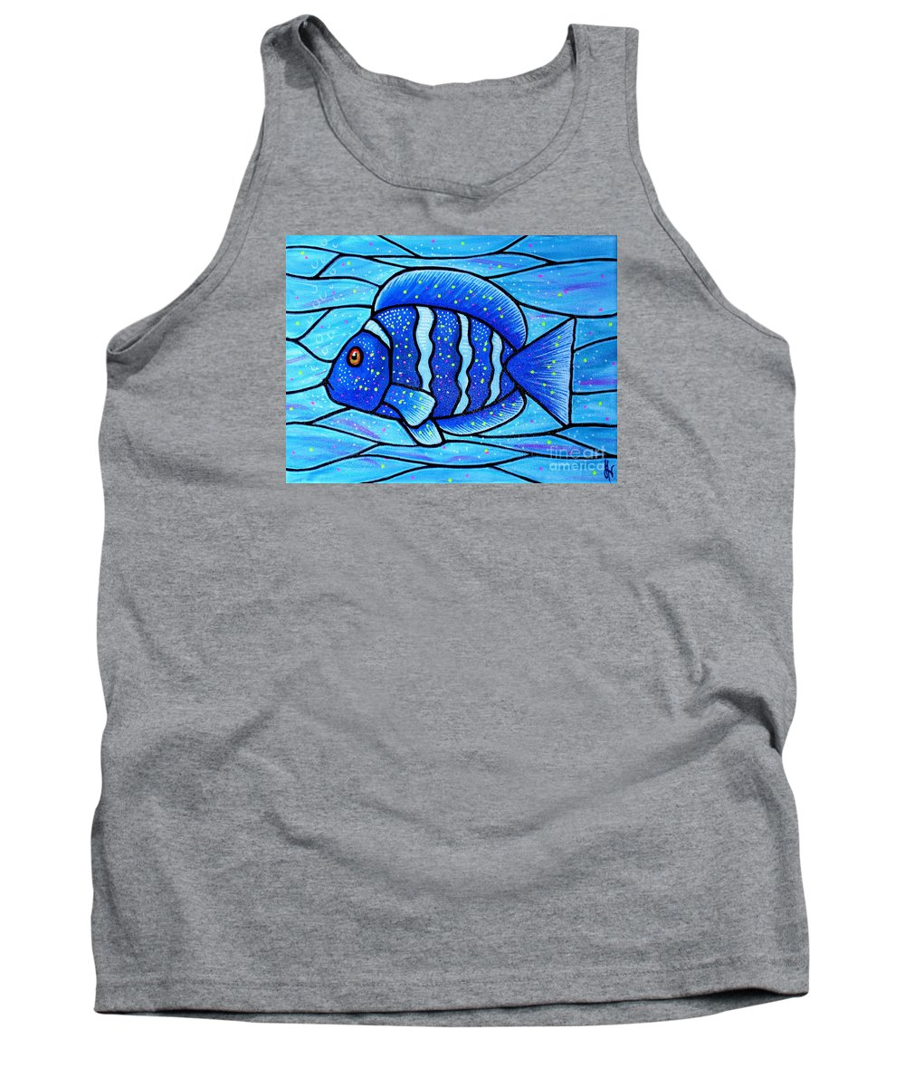 Tropical Fish Tank Top featuring the painting Beckys Blue Tropical Fish by Jim Harris