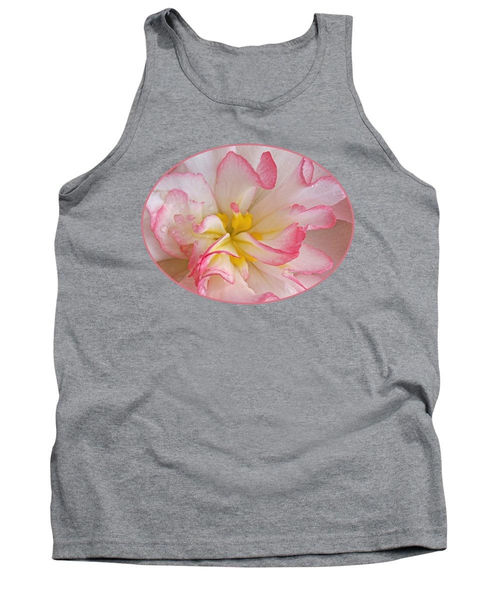 Begonia Tank Top featuring the photograph Begonia Pink Frills - Horizontal by Gill Billington