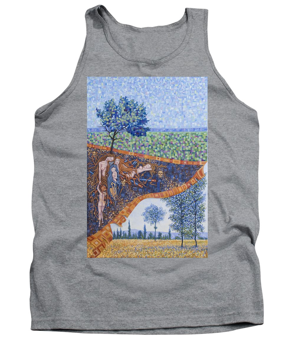 Canvas Tank Top featuring the painting Behind The Canvas by Judy Henninger