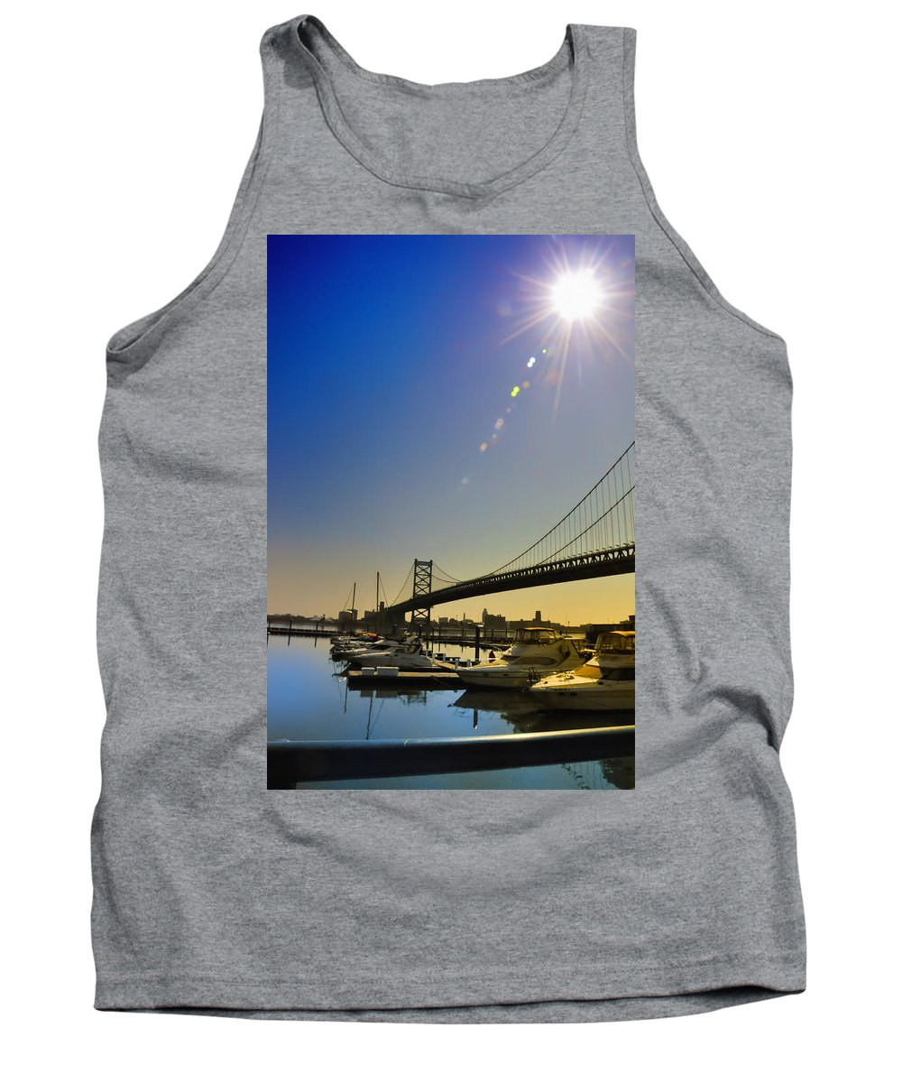 Philadelphia Tank Top featuring the photograph Ben Franklin Bridge From The Marina by Bill Cannon