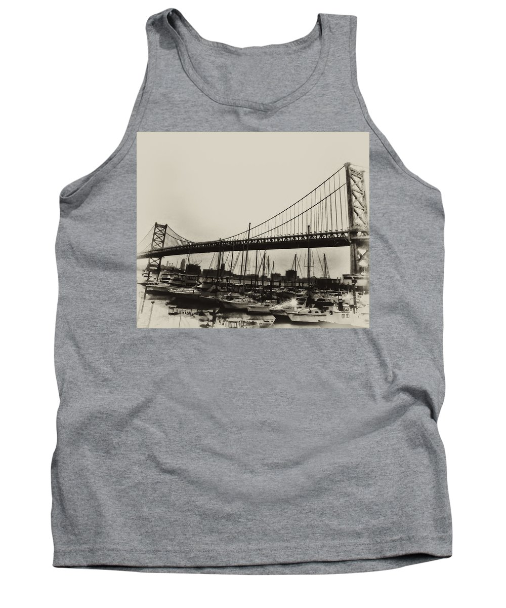 Philadelphia Tank Top featuring the photograph Ben Franklin Bridge From The Marina In Black And White. by Bill Cannon