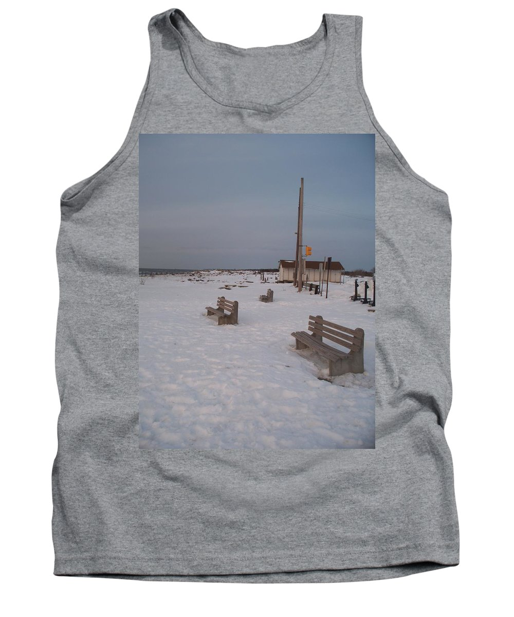 Benches Tank Top featuring the photograph Benches At Sunset Beach Nj by Eric Schiabor