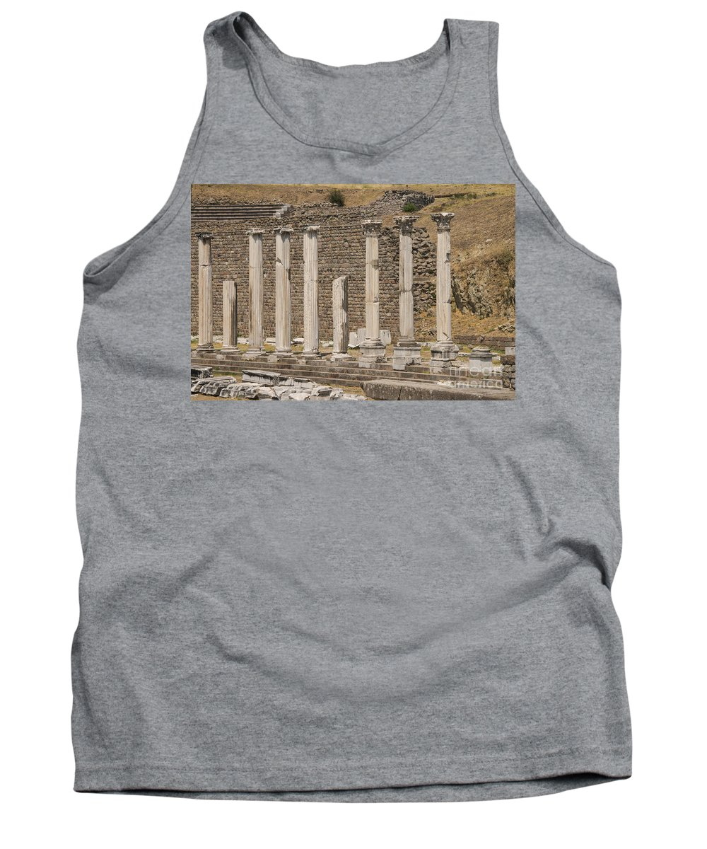 Bergama Pergamon Turkey Asklepion Ancient Ruins Ruin Landscape Landscapes Amphitheater Amphitheaters Architecture Structures Structures Column Columns Landmark Landmarks Acropolis Tank Top featuring the photograph Bergama Colonnade Ruins by Bob Phillips