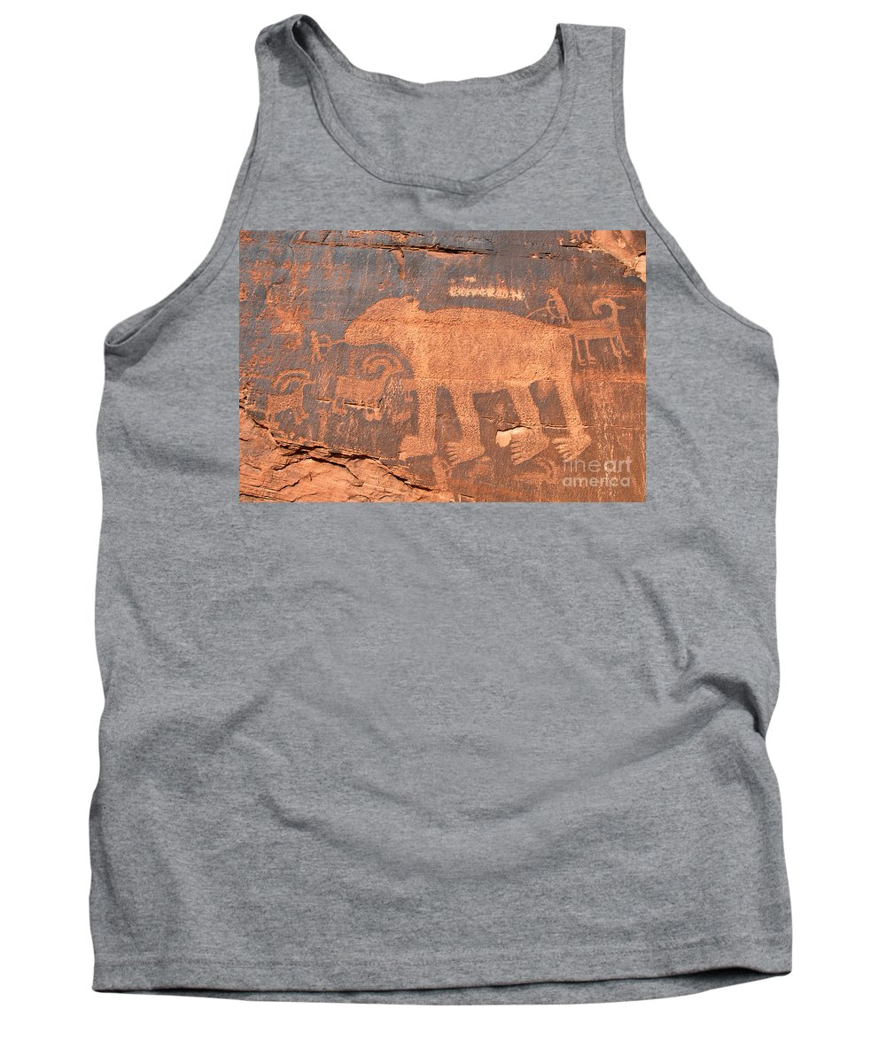 Petroglyph Tank Top featuring the photograph Big Bear Petroglyph by David Lee Thompson