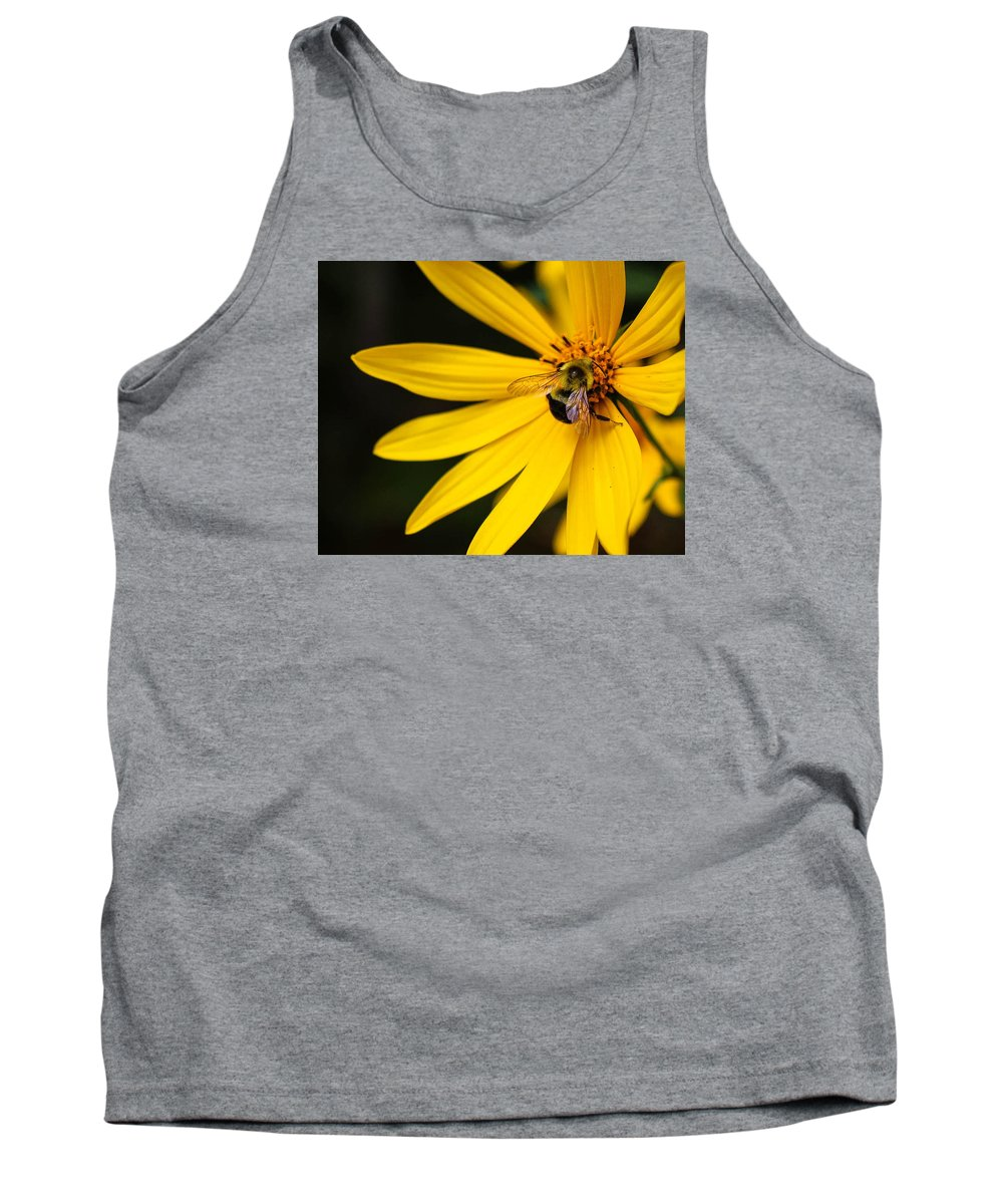 Bee Tank Top featuring the photograph Big Bee, Little Flower by Jessica Fronabarger