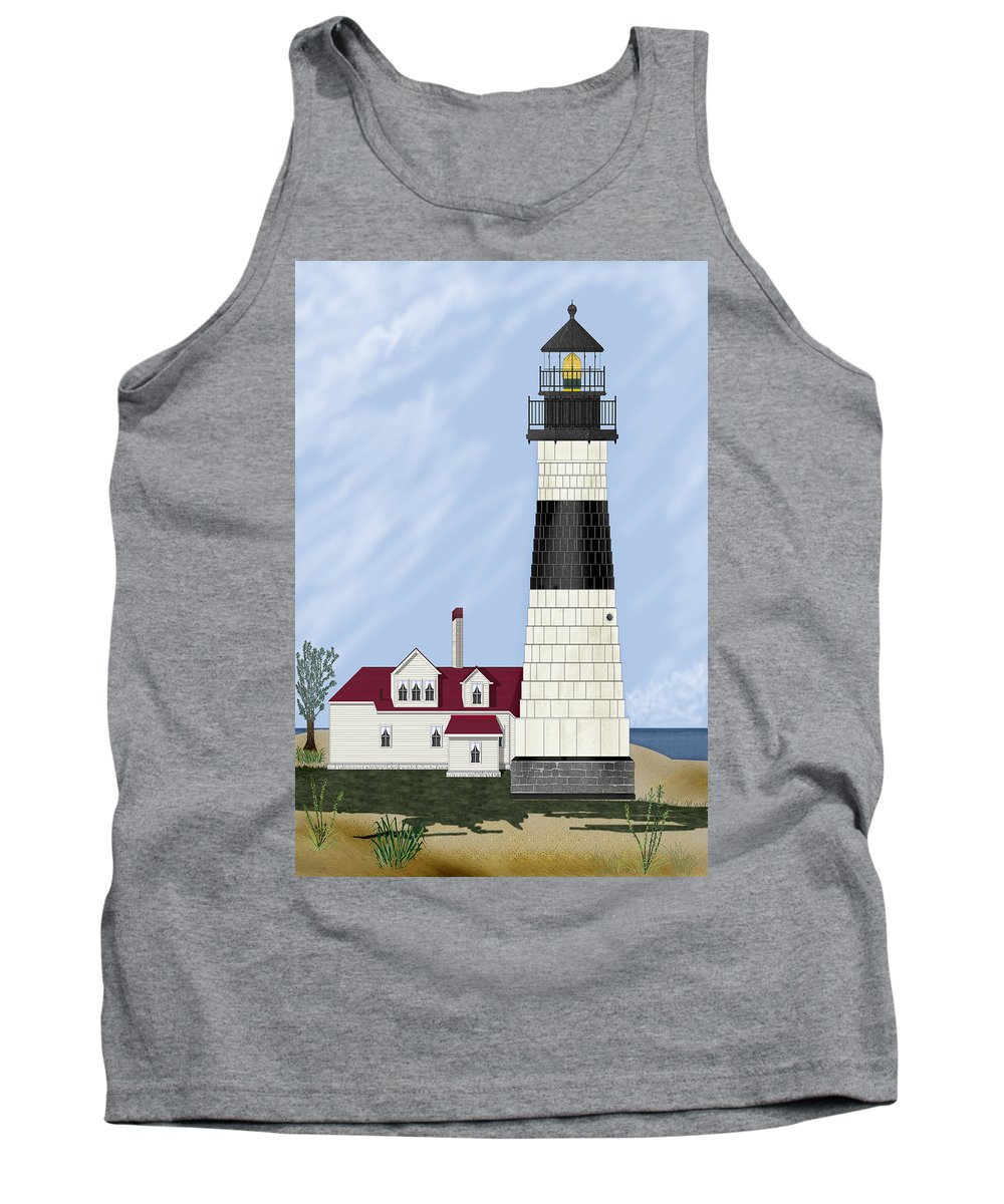 Big Sable Michigan Lighthouse Tank Top featuring the painting Big Sable Michigan by Anne Norskog