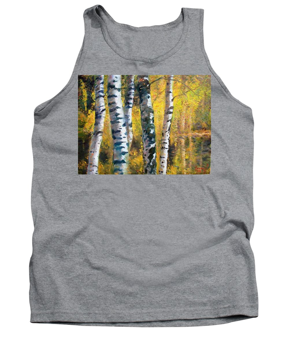 Landscape Tank Top featuring the painting Birch Trees In Golden Fall by Ylli Haruni