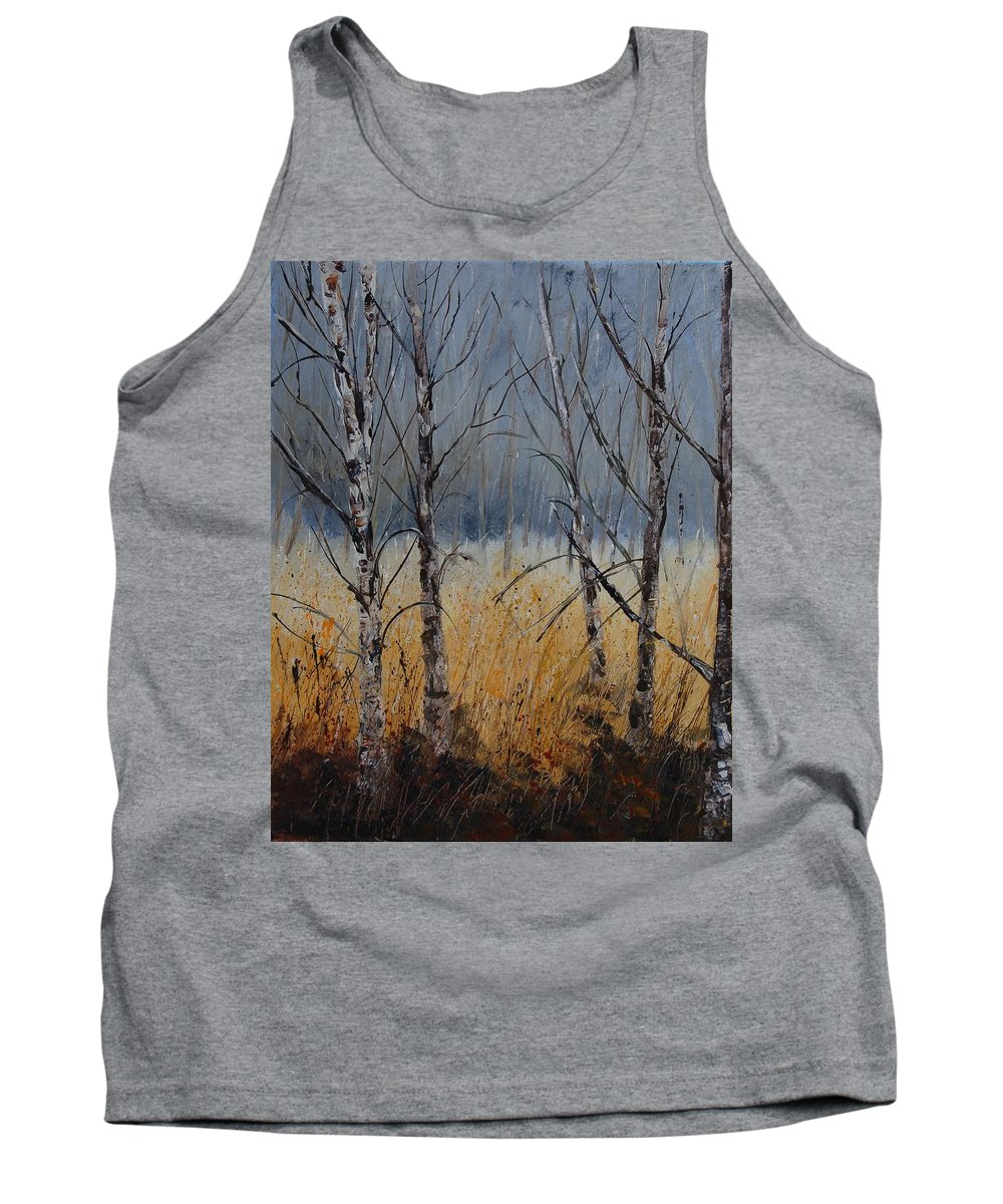 Winter Tank Top featuring the painting Birch Trees by Pol Ledent
