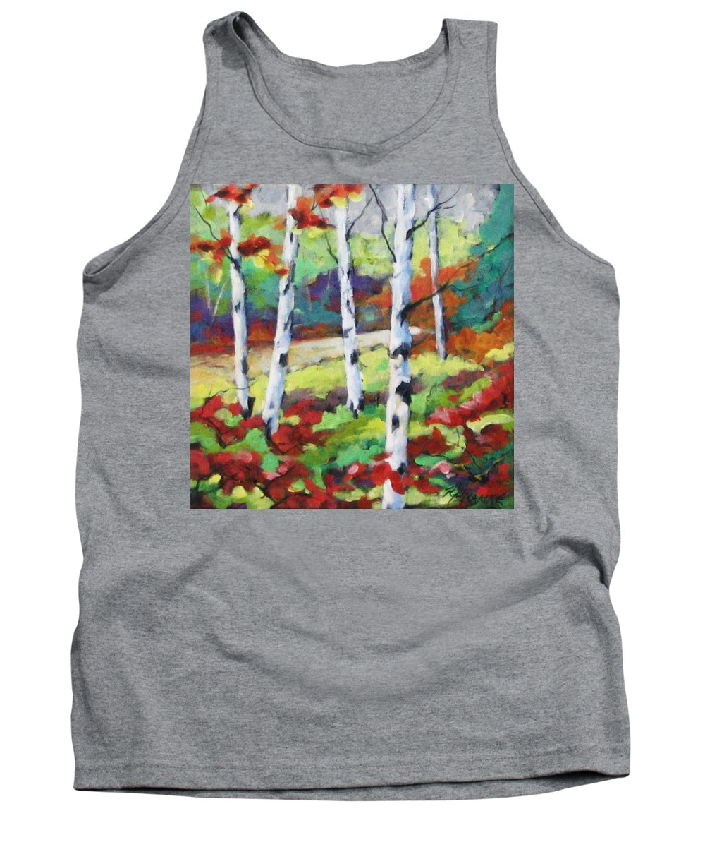 Art Tank Top featuring the painting Birches 07 by Richard T Pranke