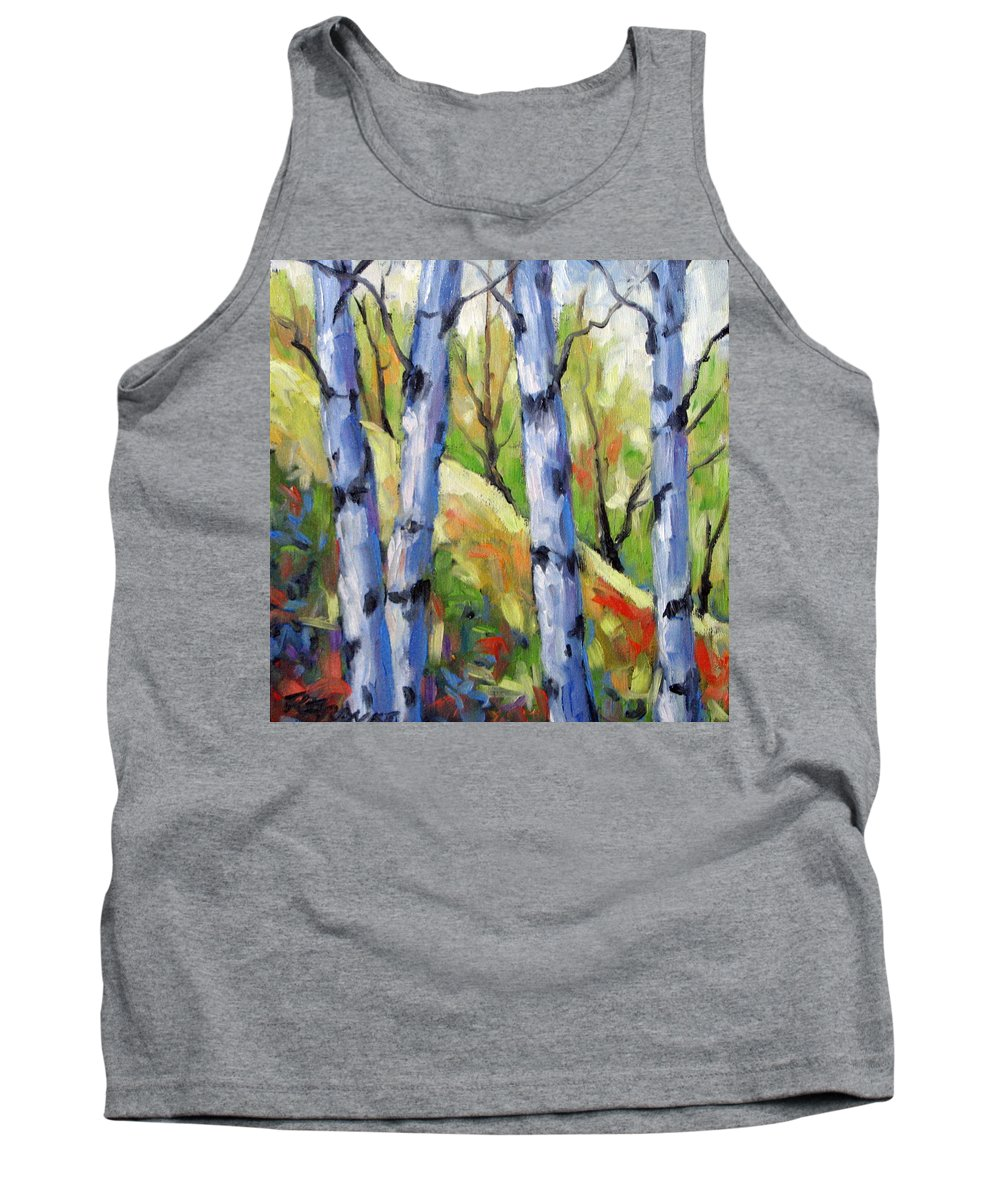 Art Tank Top featuring the painting Birches 09 by Richard T Pranke
