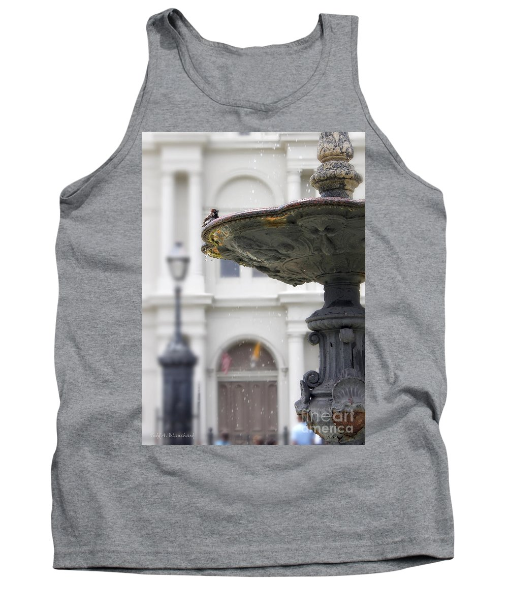 Architecture Tank Top featuring the photograph Bird In A Fountain by Todd Blanchard