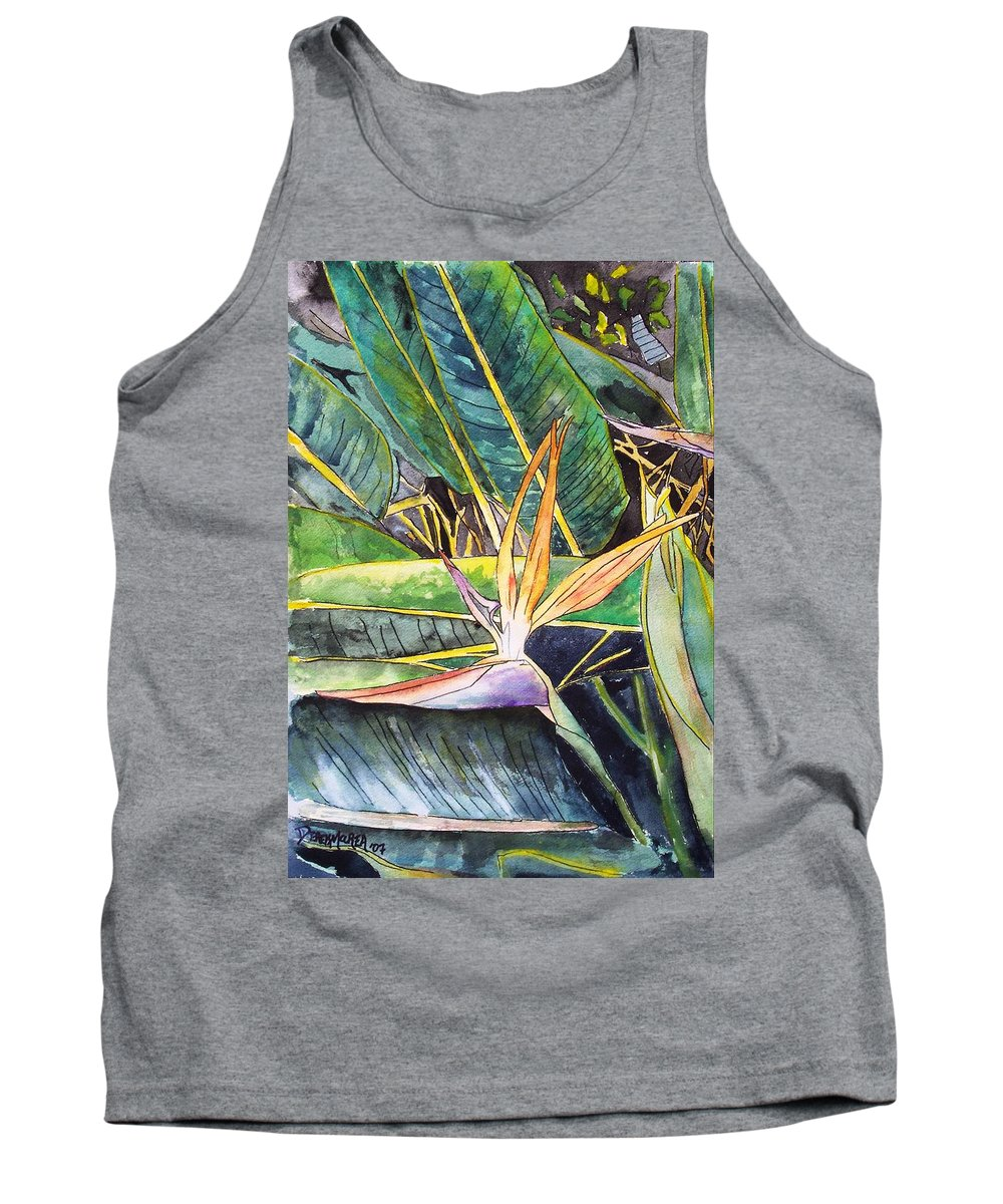 Watercolor Tank Top featuring the painting Bird Of Paradise by Derek Mccrea