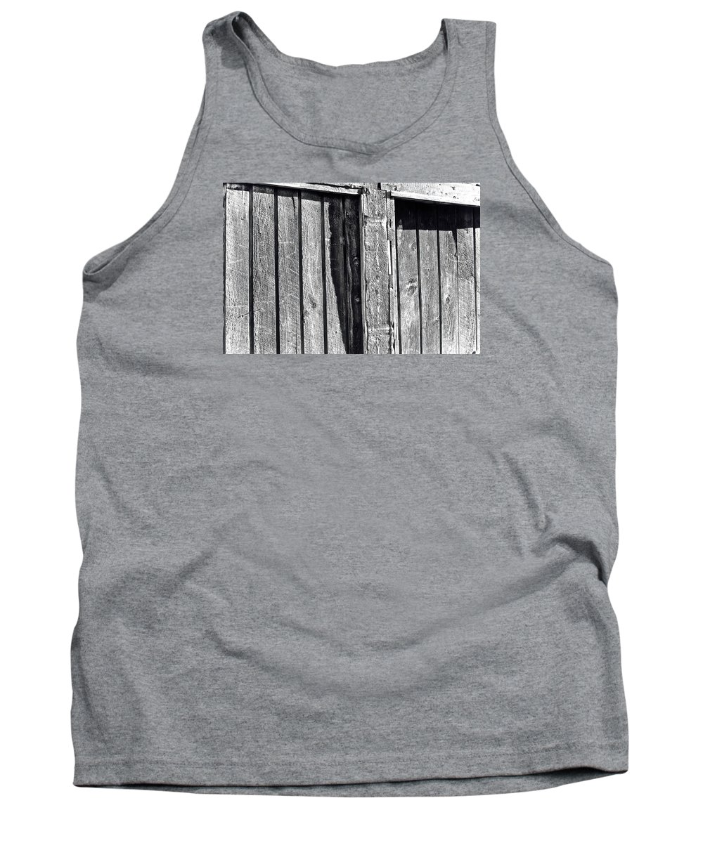 Barn Tank Top featuring the photograph Black And White Wood Texture by Kenneth Summers