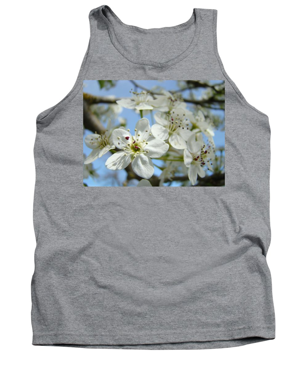 Blossom Tank Top featuring the photograph Blossoms Art Prints Whtie Spring Tree Blossoms Blue Sky Baslee by Baslee Troutman