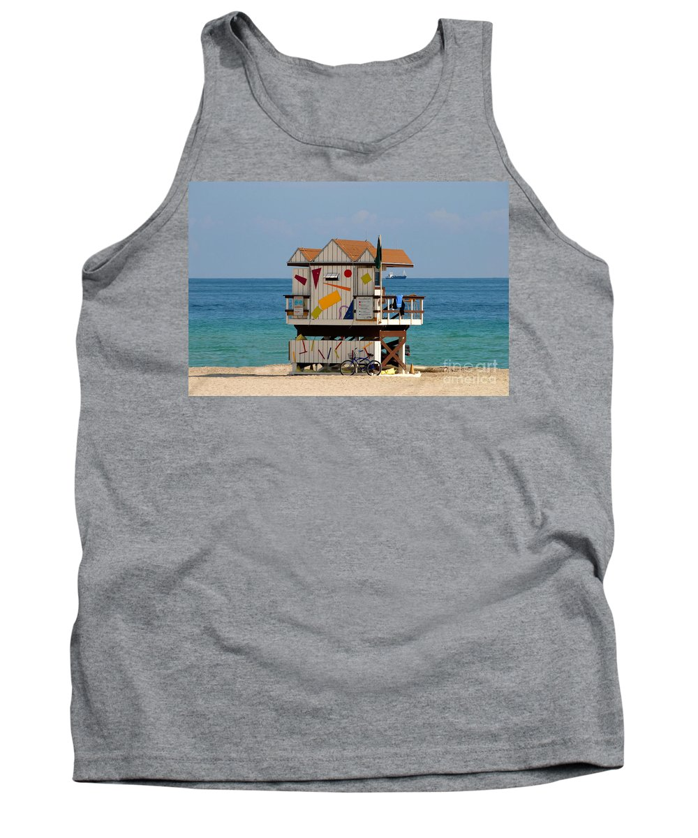 Miami Beach Tank Top featuring the photograph Blue Bicycle by David Lee Thompson