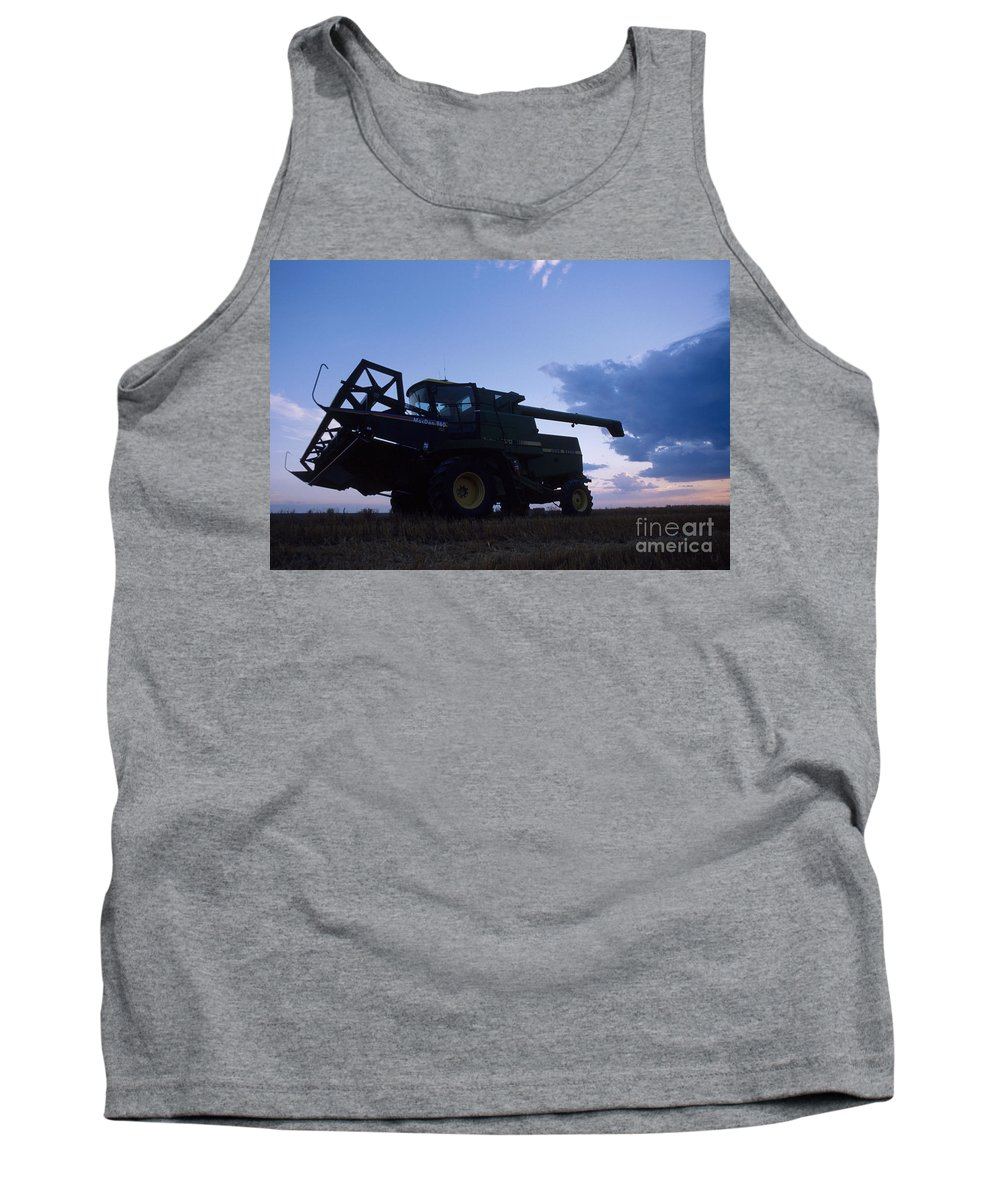Farm Tank Top featuring the photograph Blue Combine by Jerry McElroy