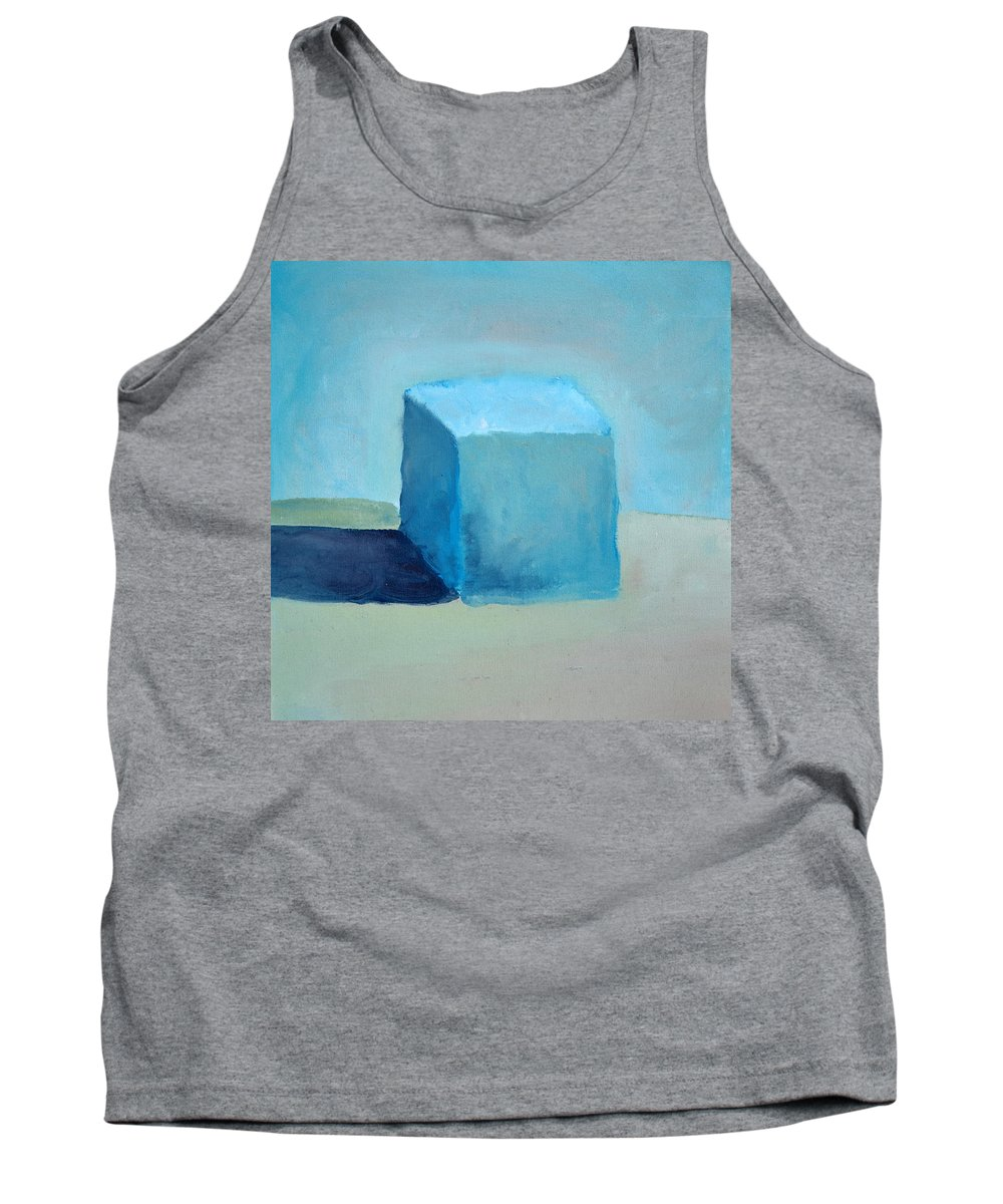 Blue Tank Top featuring the painting Blue Cube Still Life by Michelle Calkins