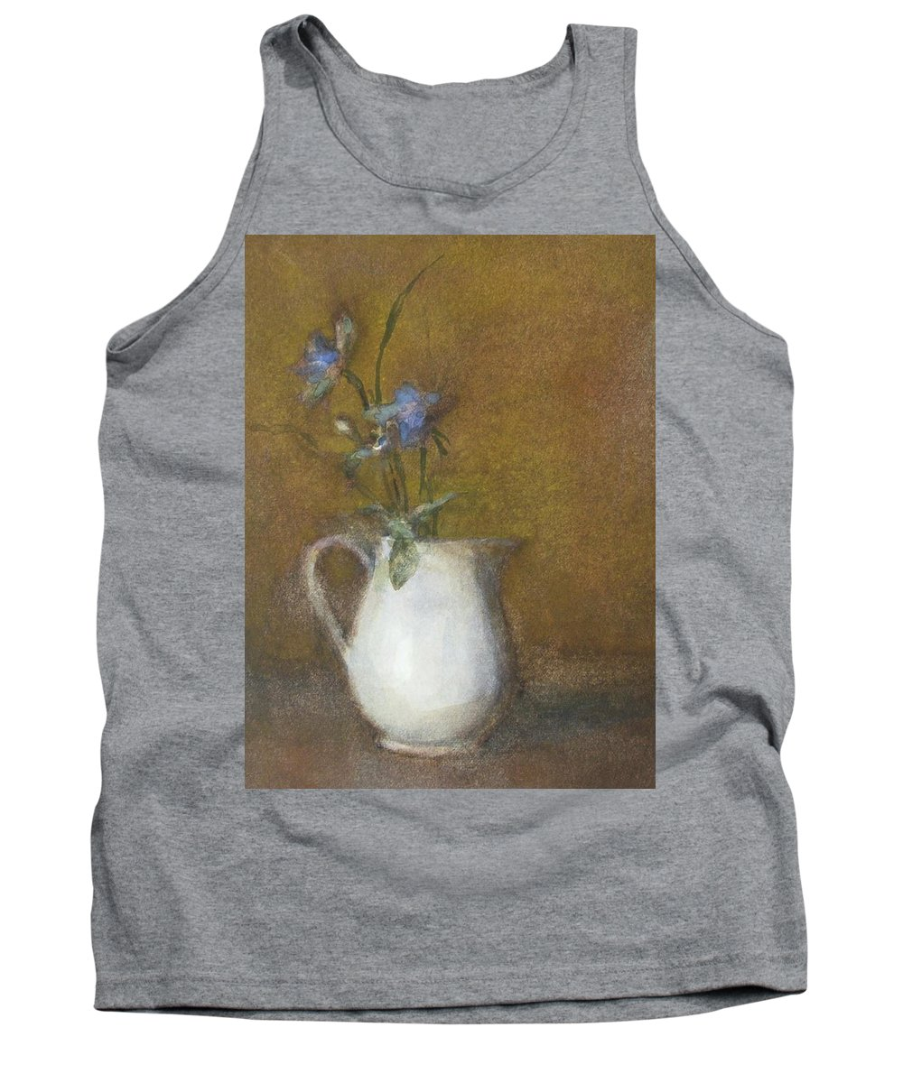 Floral Still Life Tank Top featuring the painting Blue Flower by Joan DaGradi