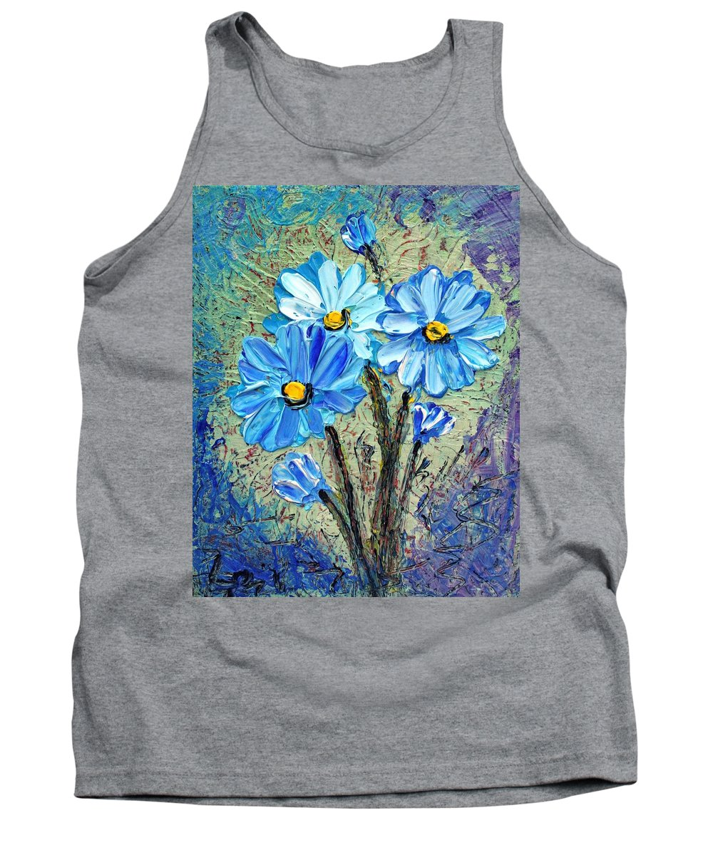 Flowers Tank Top featuring the painting Blue Flowers by Luiza Vizoli