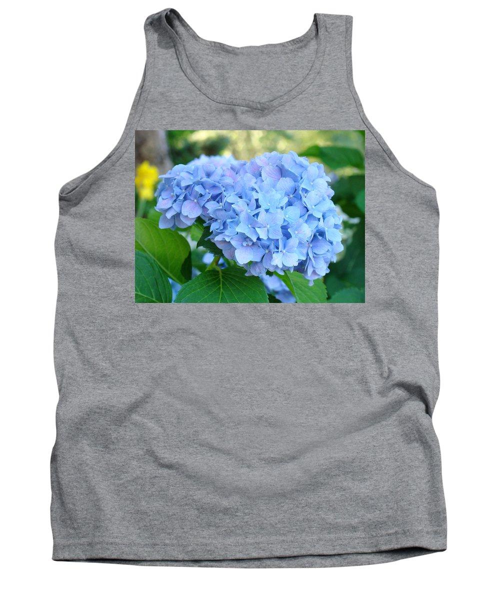 Hydrangea Tank Top featuring the photograph Blue Hydrangea Flowers Art Botanical Nature Garden Prints by Baslee Troutman