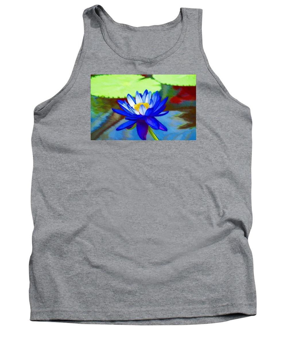 Blue Lotus Tank Top featuring the painting Blue Lotus Flower by Jeelan Clark