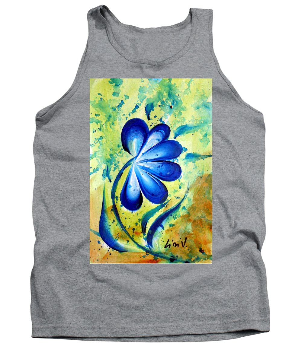Flower Tank Top featuring the painting Blue Mood by Luiza Vizoli