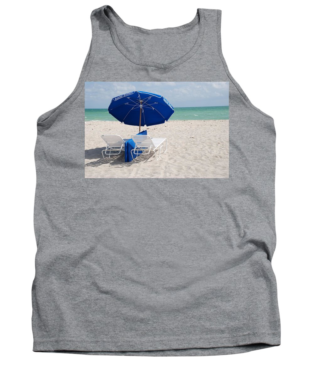 Sea Scape Tank Top featuring the photograph Blue Paradise Umbrella by Rob Hans