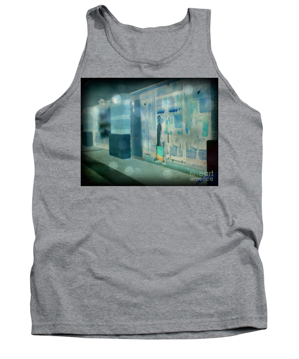 Post Processed Tank Top featuring the photograph Blue Shopper by Paulette B Wright