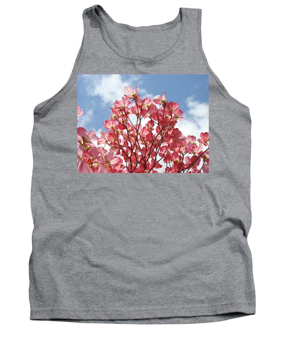 Dogwood Tank Top featuring the photograph Blue Sky Clouds Landscape 7 Pink Dogwood Tree Baslee Troutman by Baslee Troutman