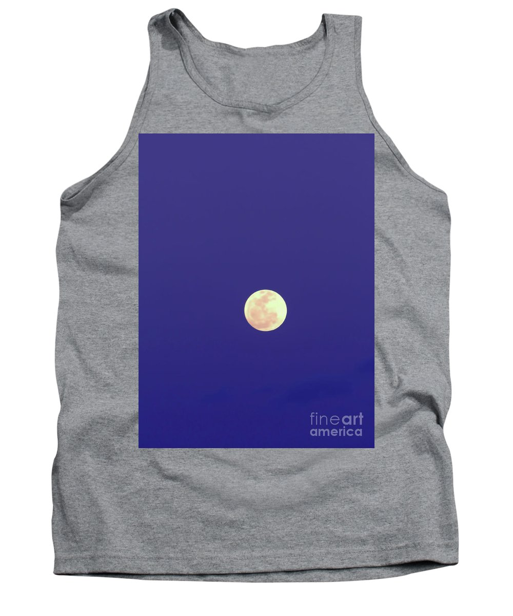 Moon Tank Top featuring the photograph Blue - Sky - Full - Moon by D Hackett