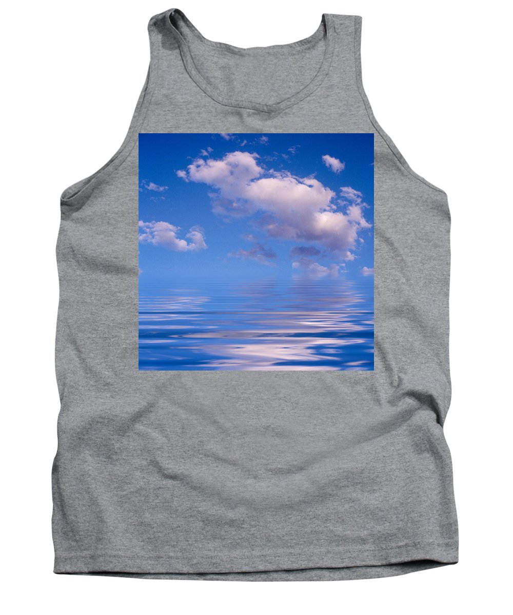 Original Art Tank Top featuring the photograph Blue Sky Reflections by Jerry McElroy