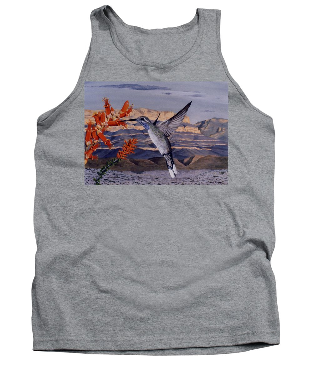 Hyperrealism Tank Top featuring the painting Blue Throated Hummingbird by Michael Earney