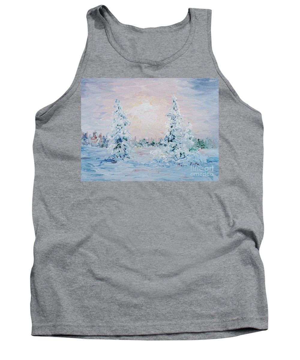 Landscape Tank Top featuring the painting Blue Winter by Nadine Rippelmeyer