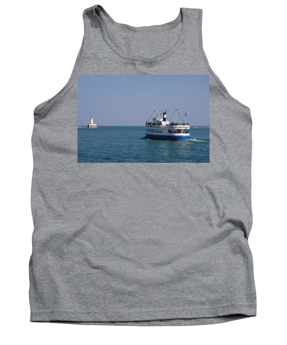 Boat Ride Chicago Windy City Tourist Tourism Travel Water Lake Michigan Attraction Blue Sky Tank Top featuring the photograph Boat Ride by Andrei Shliakhau