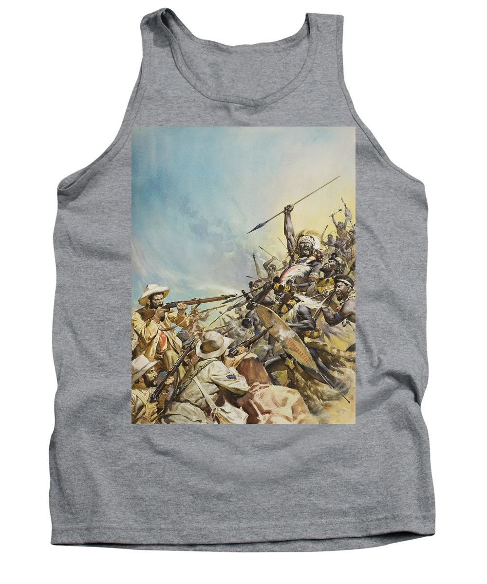 Boer; Zulus; Zulu; Soldier; Soldiers; Warrior; Warriors; Weapon; Weapons; Spear; Spears; Headdress; Headdresses; Colonialism; South Africa; Fight; Fighting; Gun; Rifle; Barbarian; Tribal; Primitivel Warfare Tank Top featuring the painting Boers Fighting Natives by James Edwin McConnell