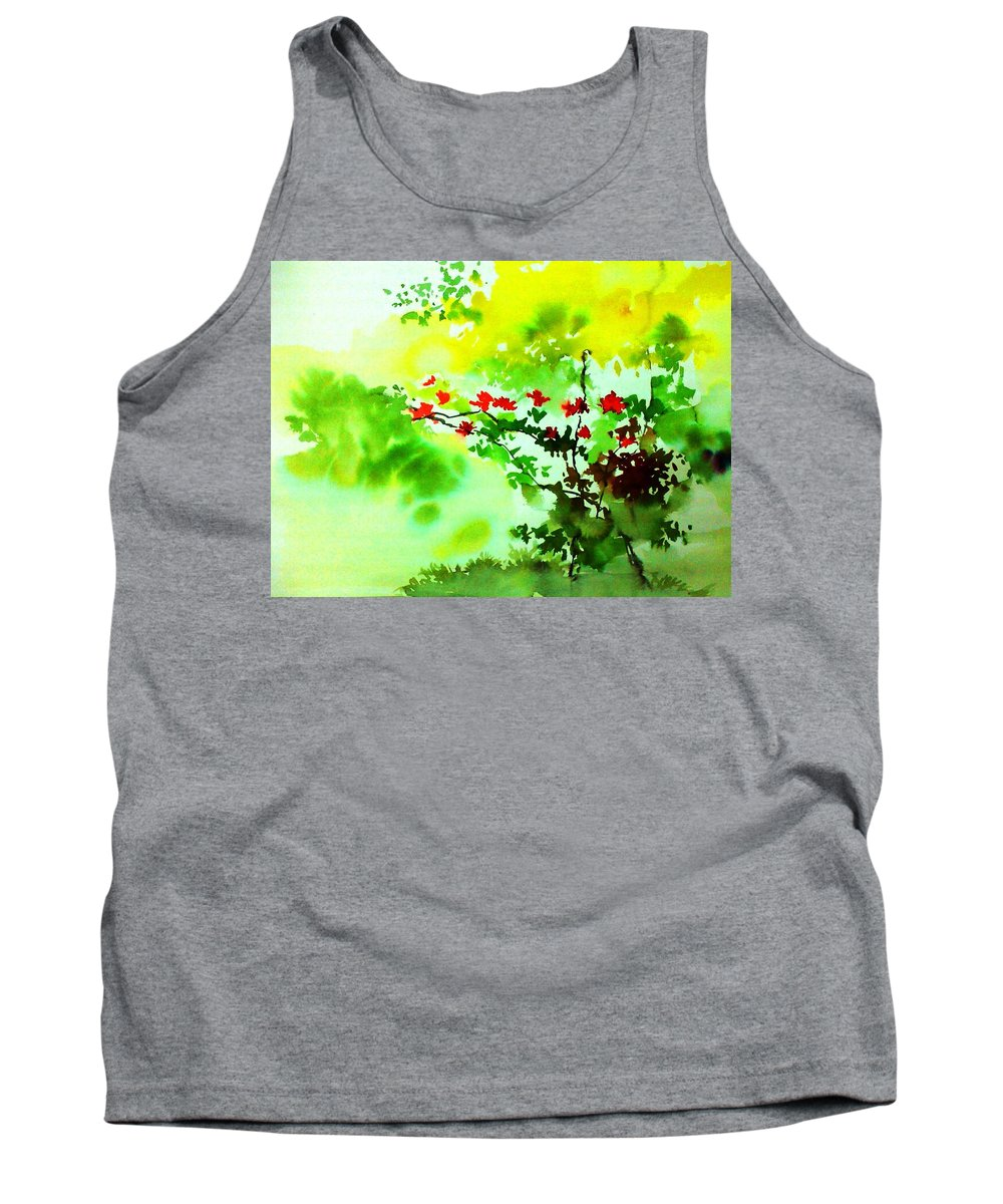Floral Tank Top featuring the painting Boganwel by Anil Nene