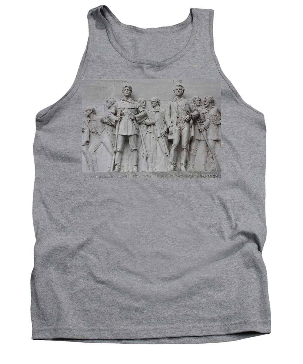 Alamo Tank Top featuring the photograph Bonham And Bowie On Alamo Monument by Carol Groenen