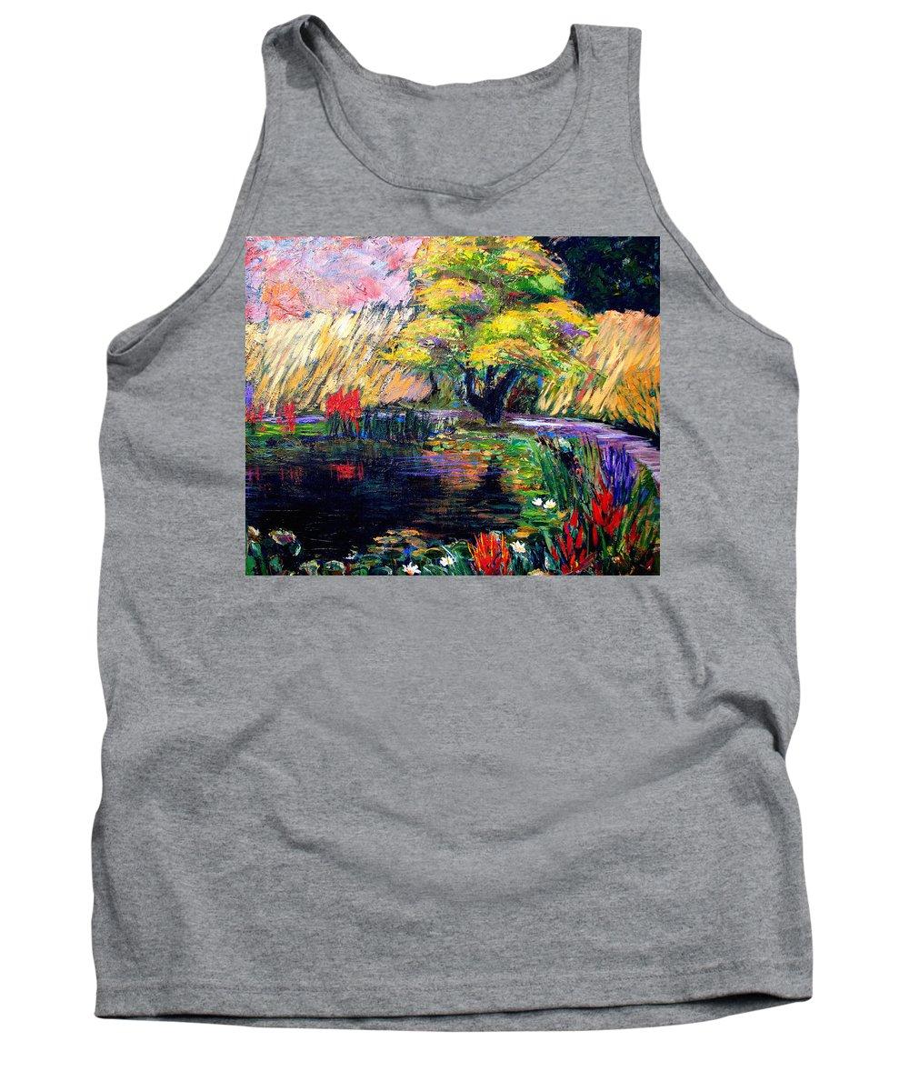 Art Nomad Tank Top featuring the painting Botanical Garden In Lund Sweden by Art Nomad Sandra Hansen