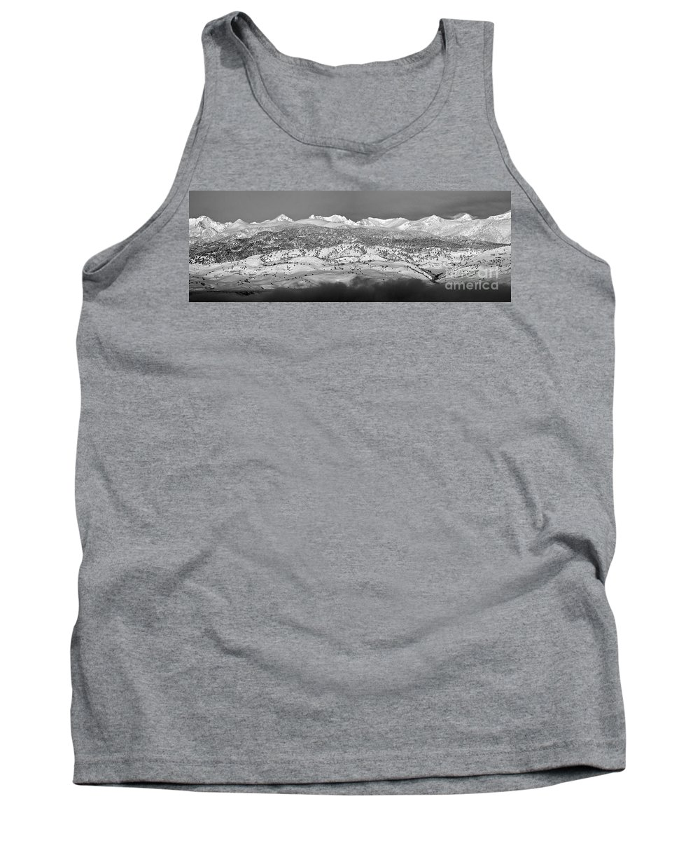 Colorado.b&w Tank Top featuring the photograph Boulder County Continental Divide Panorama Bw by James BO Insogna