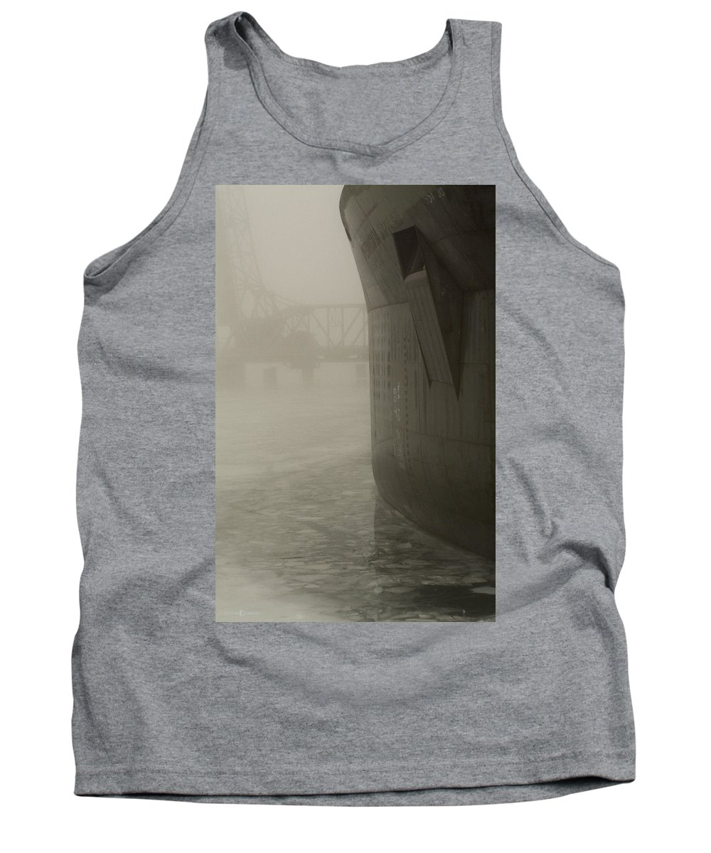 Water Tank Top featuring the photograph Bridge And Barge by Tim Nyberg