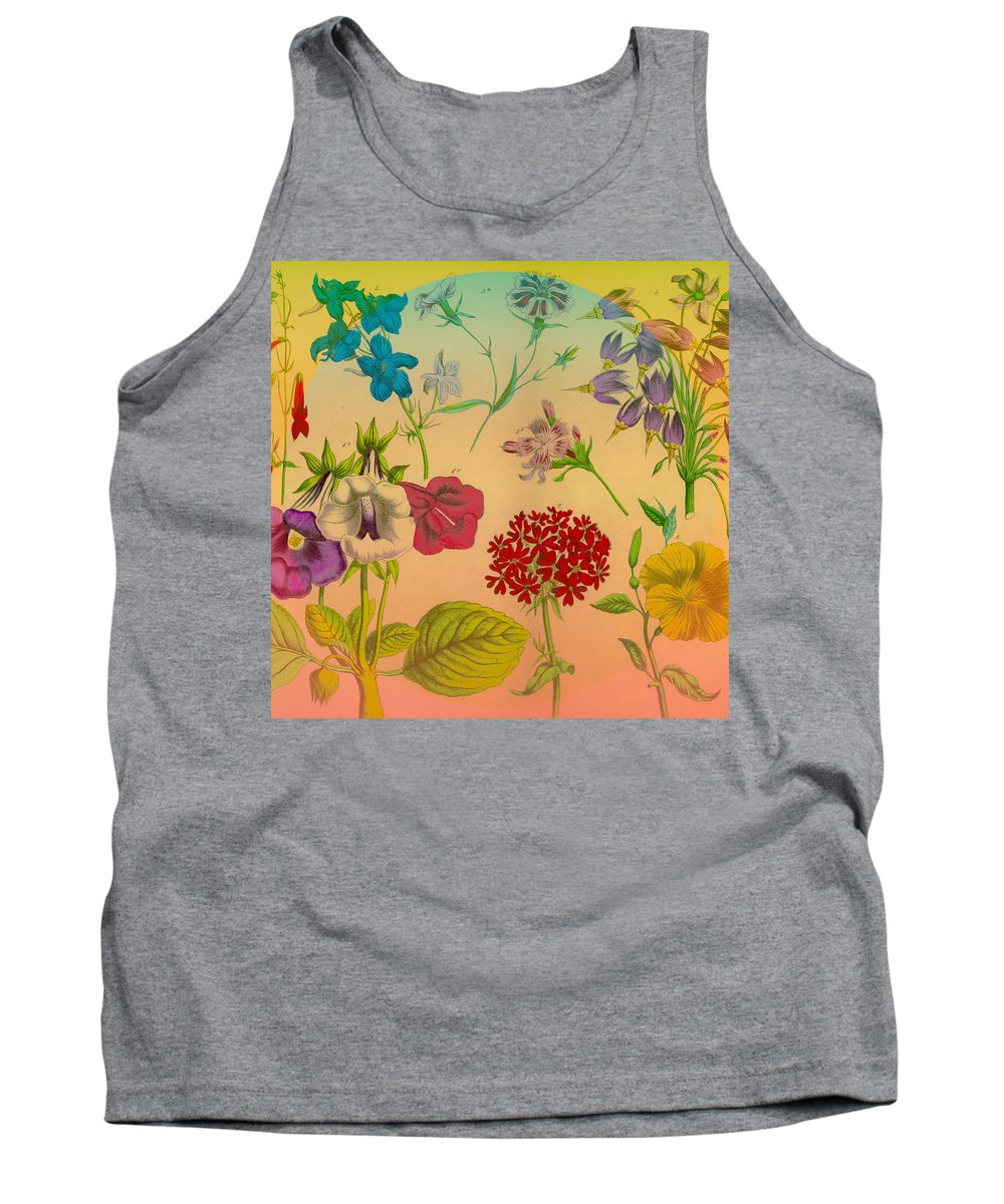 Floral Tank Top featuring the digital art Bright Flowers by Connie Goldman