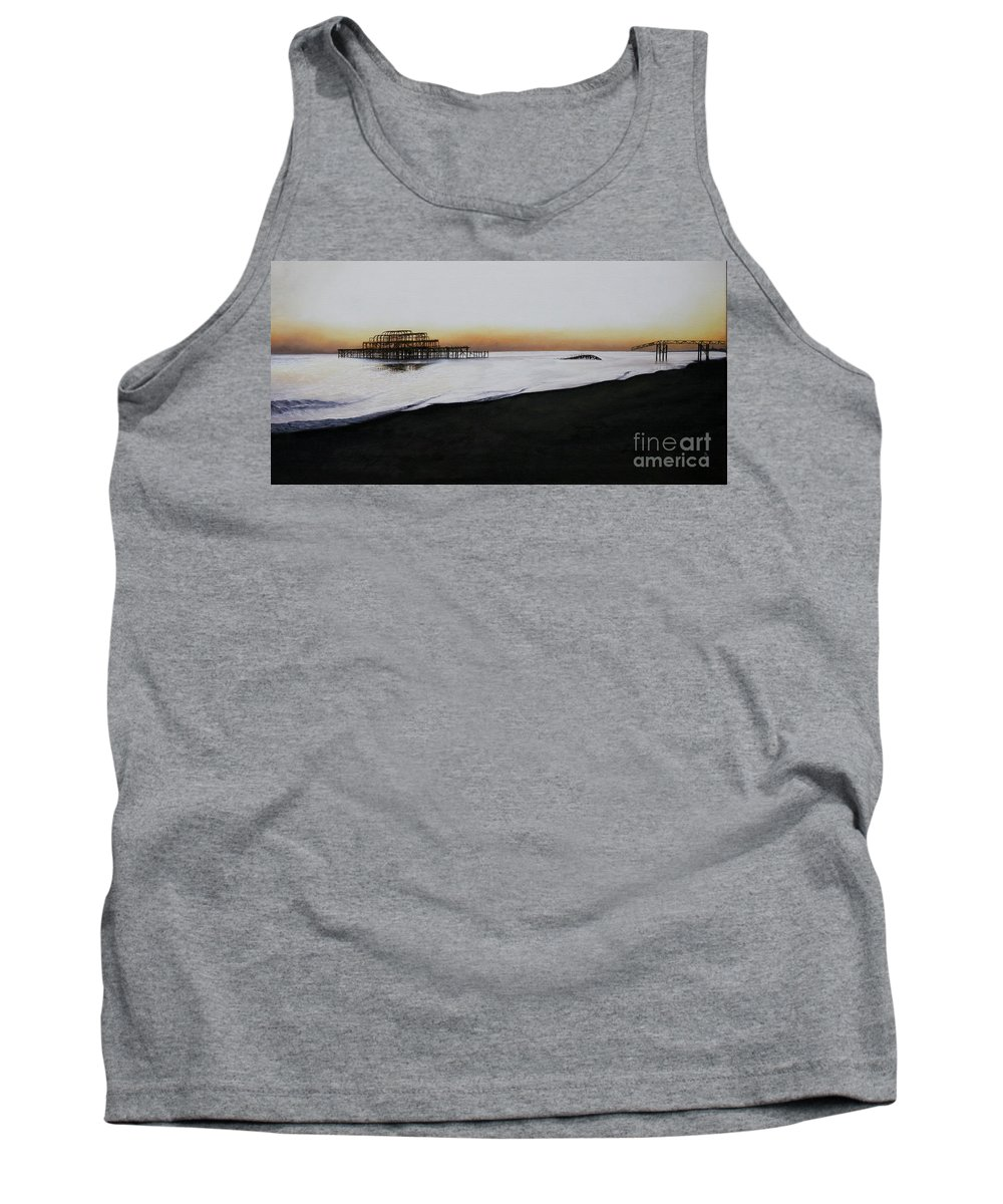 Oil Tank Top featuring the painting Brighton West Pier-tranquil Sunset by Pauline Sharp