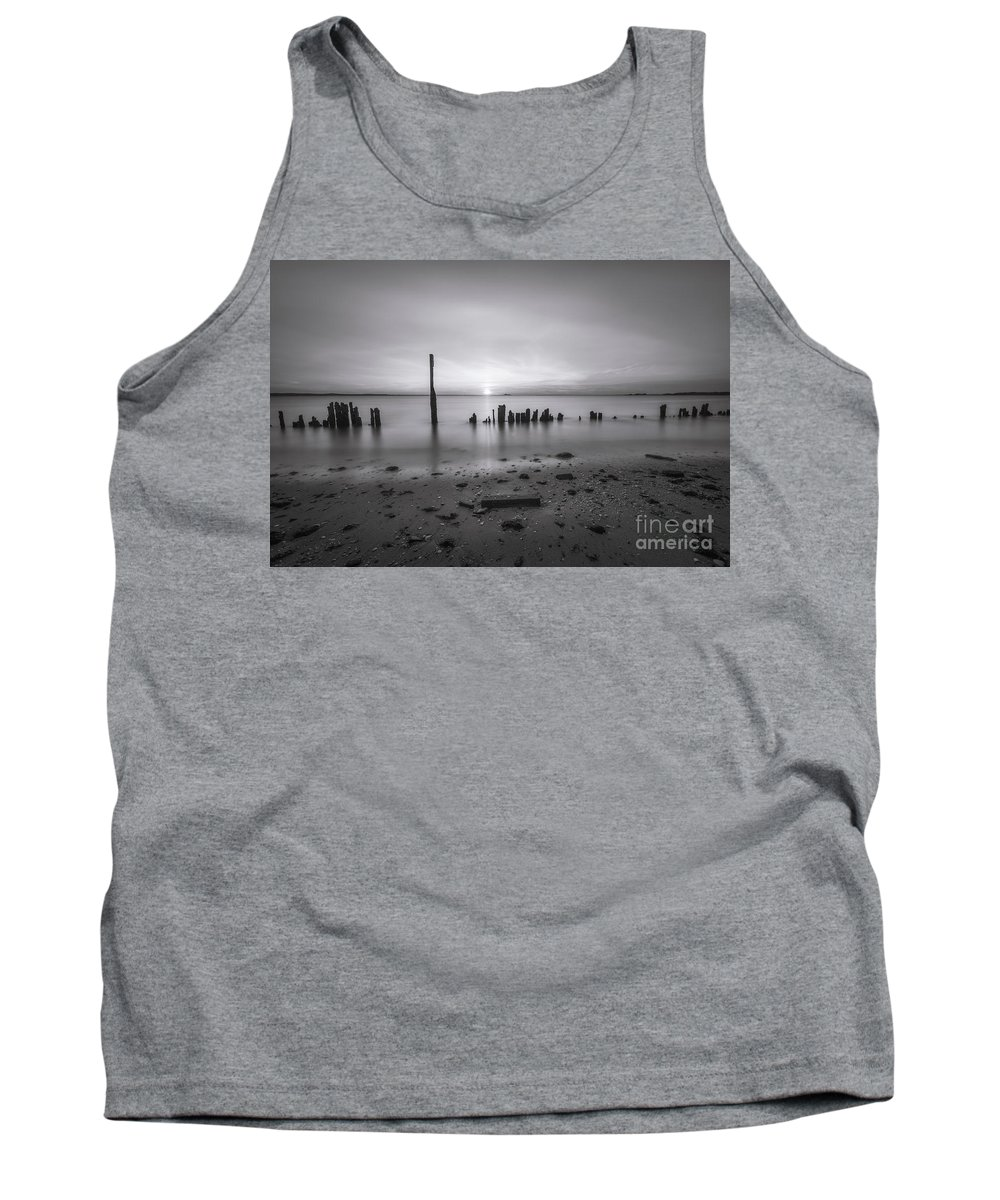 Sandy Hook Tank Top featuring the photograph Broken Pilings Sunset Bw by Michael Ver Sprill
