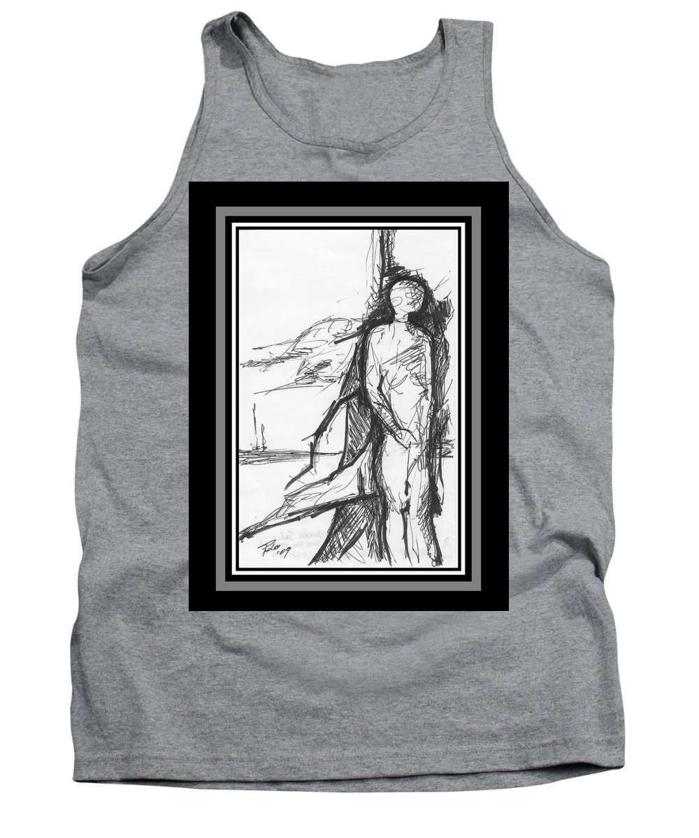Sail Tank Top featuring the drawing Broken Sail by PAOLO Bianchi