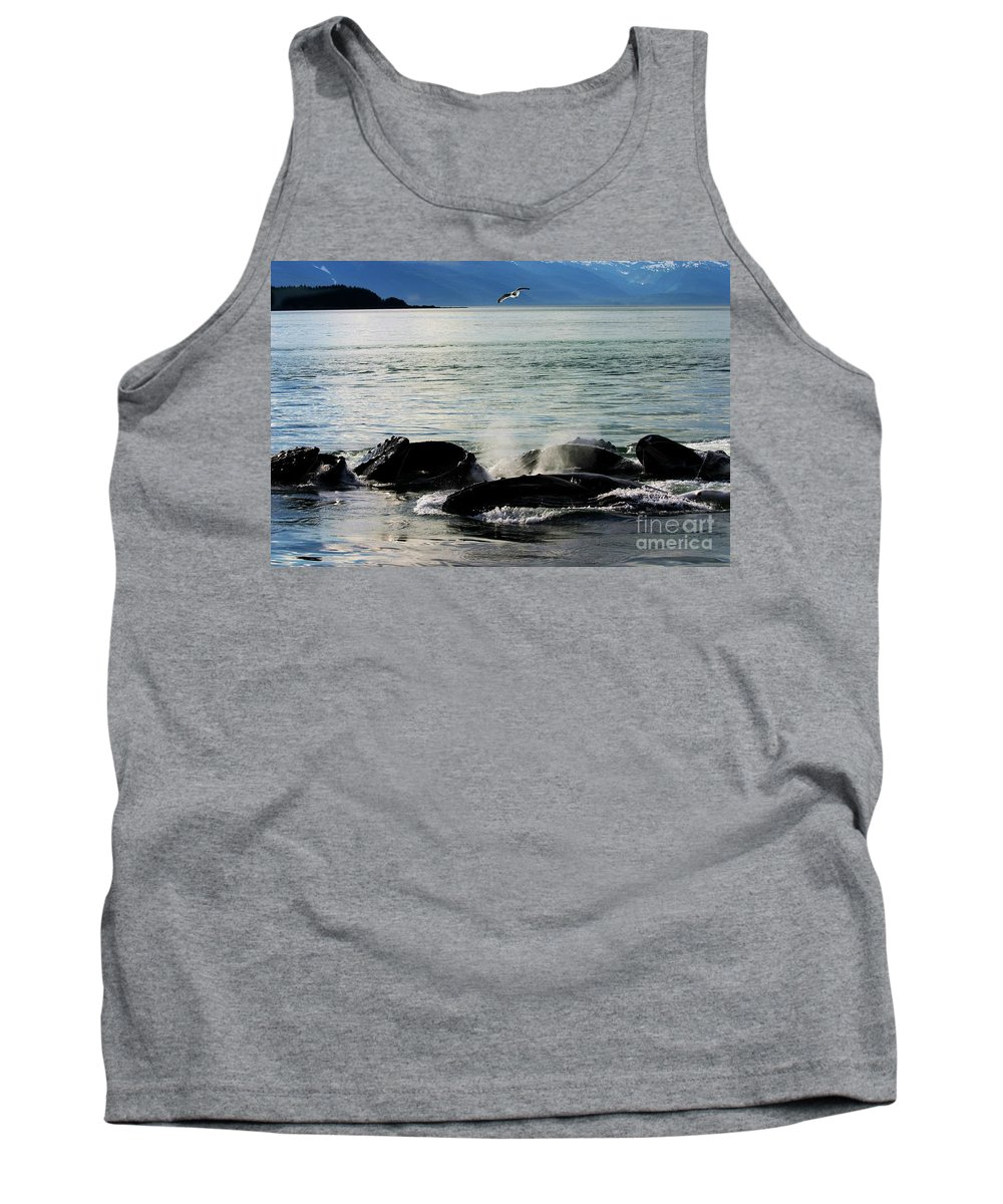 Whales Tank Top featuring the photograph Bubble Net Feeding by Donna Cain