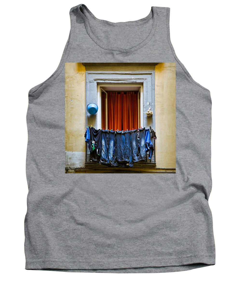 Clothes Tank Top featuring the photograph Bucket - Garlic And Jeans by Dave Bowman