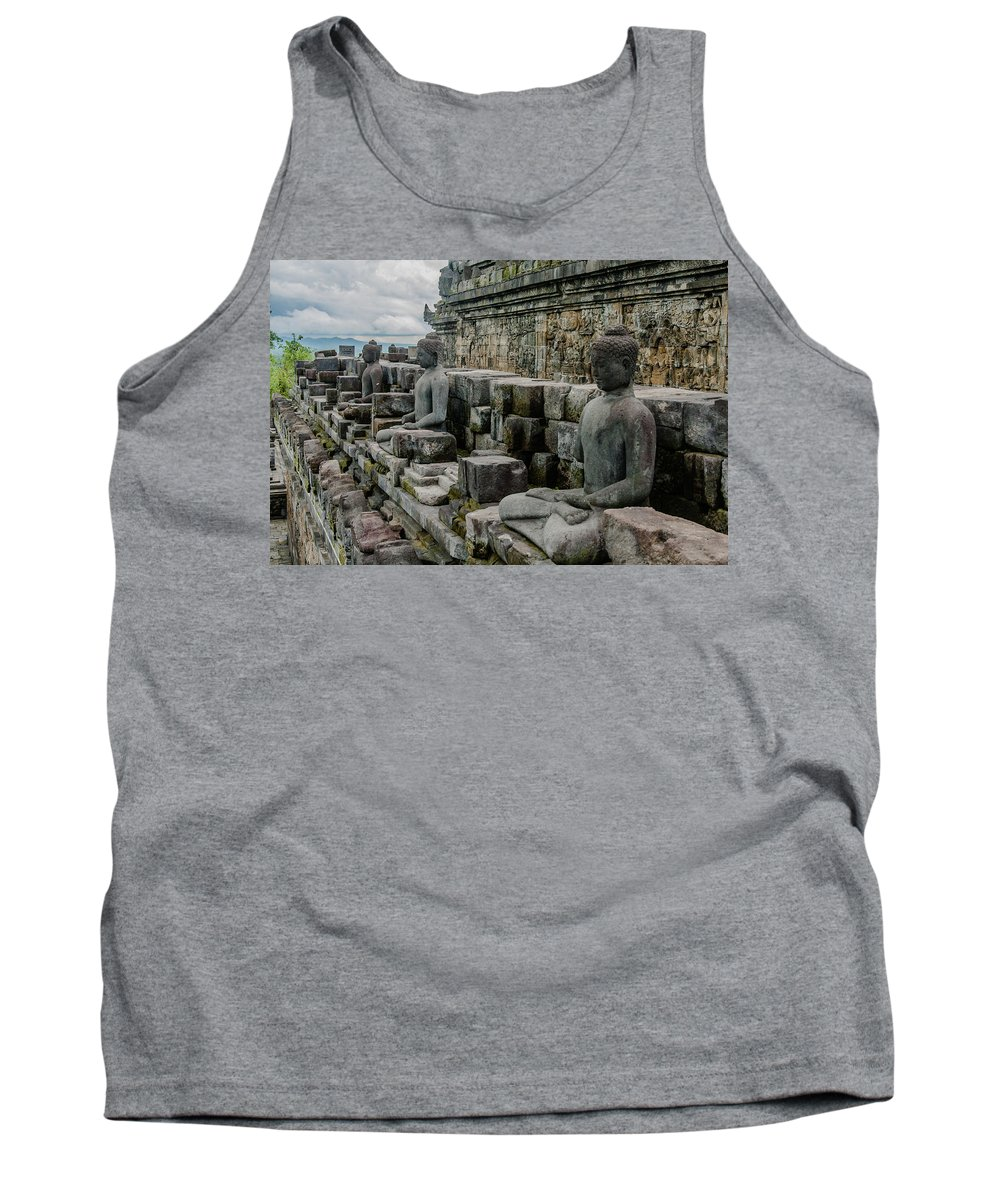 Ancient Tank Top featuring the photograph Buddhas Of Borobudur by Volodymyr Dvornyk